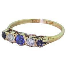 Mid Century Sapphire & Diamond Five Stone Ring, circa 1950