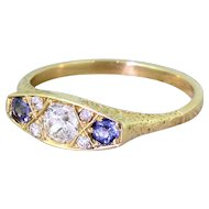 Art Deco 0.50 Carat Diamond & Sapphire Trilogy Ring, circa 1920