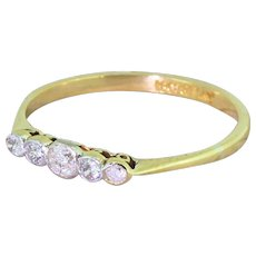 Art Deco 0.26 Carat Old Cut Diamond Five Stone Ring, circa 1935