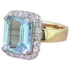 Mid Century 5.00 Carat Emerald Cut Aquamarine & Diamond Ring, circa 1960