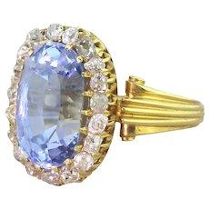 Art Deco 9.06 Carat Natural Madagascan Sapphire & Old Cut Diamond Ring, circa 1930