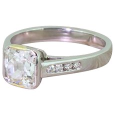 1.49 Carat Square Shaped Old Cut Diamond Engagement Ring, Platinum