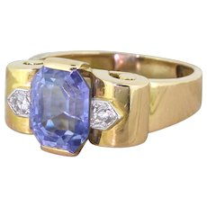 Retro 4.50 Carat Natural Emerald Cut Natural Sapphire Ring, circa 1945