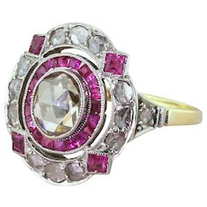 Edwardian Rose Cut Diamond & Step Cut Ruby Cluster Ring, circa 1910