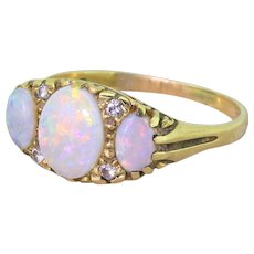 Late 20th Century Opal & Diamond Trilogy Ring, dated 1982
