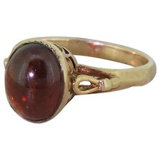 Late 20th Century Cabochon Garnet Solitaire Ring, dated 1970