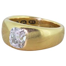 Mid Century 1.00 Carat Old Cut Diamond Solitaire Ring, dated 1944