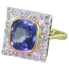 Art Deco 4.95 Carat Natural Ceylon Sapphire & Old Cut Diamond Ring, circa 1925