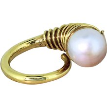 """Modernist Pearl Solitaire """"Horn"""" Ring, circa 1955"""