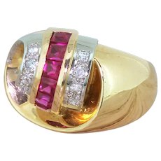 Mid Century Synthetic Ruby & Diamond Cocktail Ring, French, circa 1950