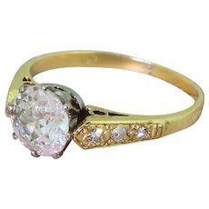 Mid Century 0.90 Carat Old Cut Diamond Engagement Ring, circa 1960