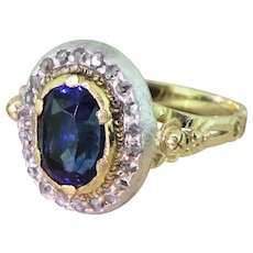 Edwardian 2.96 Carat Natural Ceylon Sapphire & Diamond Ring, circa 1910