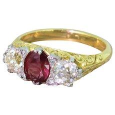 Early 20th Century 1.22 Carat Century Ruby & 1.38 Carat Old Cut Diamond Trilogy Ring, circa 1925