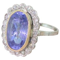 Mid Century 6.96 Carat Natural Ceylon Sapphire & Diamond Cluster Ring, circa 1960