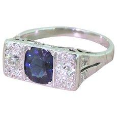 Art Deco Natural Sapphire & Old Cut Diamond Trilogy Ring, circa 1940