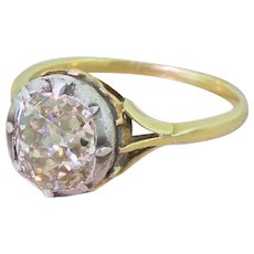 Victorian 2.16 Carat Light Yellow Old Cut Diamond Solitaire Ring, circa 1880