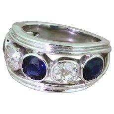 Art Deco Natural Sapphire & Old Cut Diamond Five Stone Ring, circa 1920