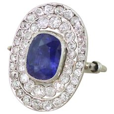 Art Deco 4.17 Carat Sapphire & Old Cut Diamond Double Cluster Ring, circa 1935