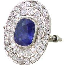 Art Deco 4.17 Carat Sapphire & Old Cut Diamond Double Cluster Ring, circa 1935