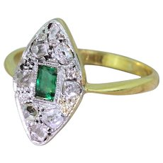 Art Deco Emerald & Rose Cut Diamond Navette Ring, circa 1920