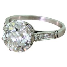 Mid Century 3.14 Carat Old Cut Diamond Engagement Ring, circa 1965