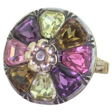 Early Victorian Multi Colour Glass Flower Ring, circa 1850