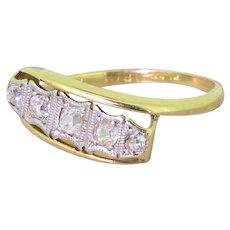 Art Deco 0.40 Carat Old Cut Diamond Five Stone Crossover Ring, circa 1915