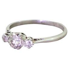 Art Deco 0.90 Carat Old Cut Diamond Trilogy Ring, circa 1925
