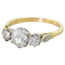 Art Deco 1.25 Carat Old Cut Diamond Trilogy Ring, circa 1920