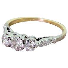 Late 20th Century 0.55 Carat Diamond Trilogy Ring, dated 1982