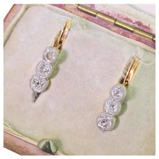 Edwardian 0.90 Carat Old Cut Diamond Three Stone Earrings, circa 1910