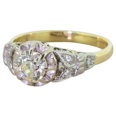 Mid Century 0.68 Carat Old Cut Diamond Engagement Ring, circa 1950