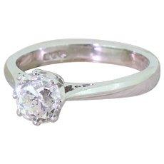 1.27 Carat Old Cushion Cut Diamond Engagement Ring, Platinum