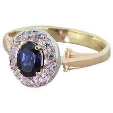 Art Deco 0.65 Carat Sapphire & Old Cut Diamond Cluster Ring, circa 1935