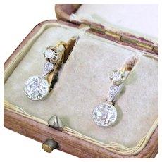 Edwardian 2.38 Old Cut Diamond Drop Earrings, circa 1910