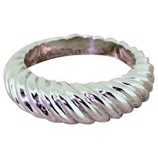 BOUCHERON 18k White Gold Grooved Ring, French, circa 1970