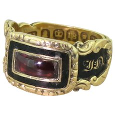 Georgian Garnet & Black Enamel Mourning Ring, dated 1832