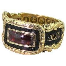 Georgian Garnet & Black Enamel Mourning Ring, dated 1832