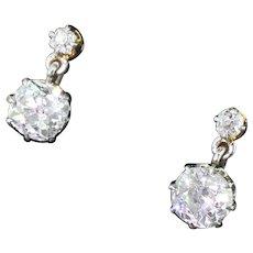 Art Deco 1.98 Carat Old Cut Diamond Drop Earrings, circa 1915