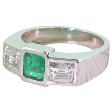 Retro Colombian Emerald & Baguette Cut Diamond Trilogy Ring, circa 1945
