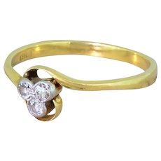 Edwardian 0.15 Carat Old Cut Diamond Trefoil Ring, circa 1910