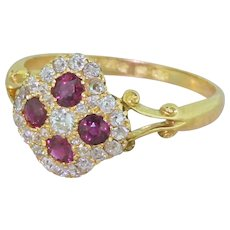 Edwardian Ruby & Old Cut Diamond Cluster Ring, circa 1905