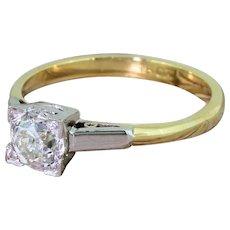 Art Deco 0.68 Carat Old Cut Diamond Engagement Ring, circa 1915