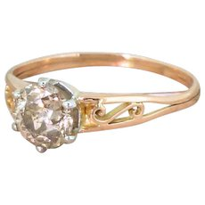 Art Deco 1.03 Carat Orangey Brown Old Cut Diamond Solitaire Ring, French, circa 1920