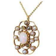Art Deco Opal, Natural Pearl & Cat's Eye Pendant, circa 1930