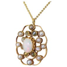 Art Deco Opal, Natural Pearl & Cat's Eye Pendant, circa 1930