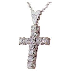 Mid Century 1.45 Carat Old Cut Diamond Cross Pendant, circa 1945