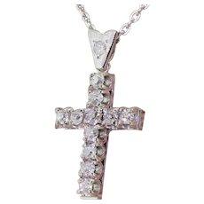 Mid Century 1.45 Carat Old Cut Diamond Cross Pendant, circa 1945