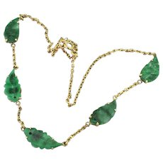 Mid Century Carved Imperial Jade Choker Necklace, circa 1950