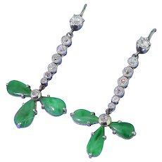 Retro Jade & 0.88 Carat Old Cut Diamond Drop Earrings, circa 1950